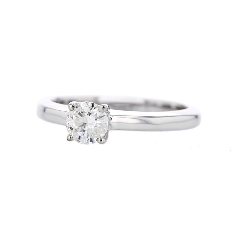 Charming Modern Ladies 14K White Gold Engagement Diamond Ring - Brand New