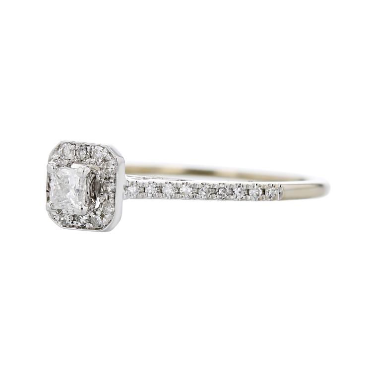 Elegant Modern Ladies 14K White Gold Sparkling Diamond Halo Ring - Brand New