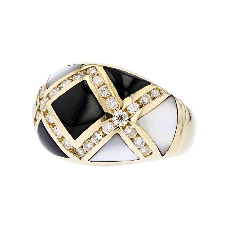 Stylish Modern 14K Yellow Gold Diamond Black/White Stripes Ladies Ring - New