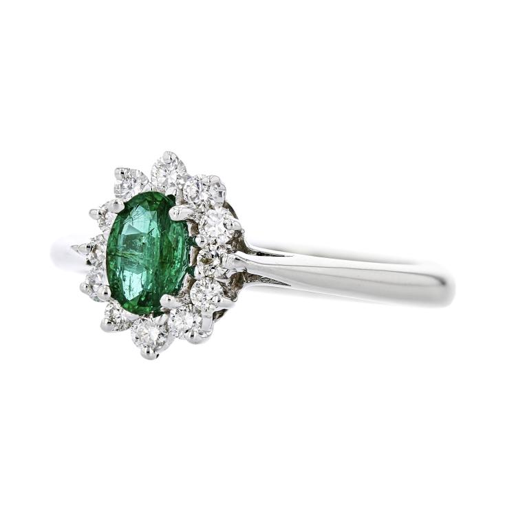 Gorgeous Modern Ladies 14K White Gold Diamond & Green Emerald Ring - Brand New