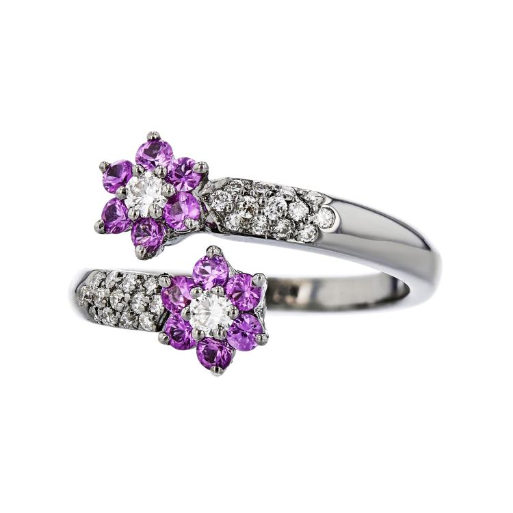 Charming Modern Ladies 18K White Gold Diamond & Pink Sapphire Flower Shaped Ring