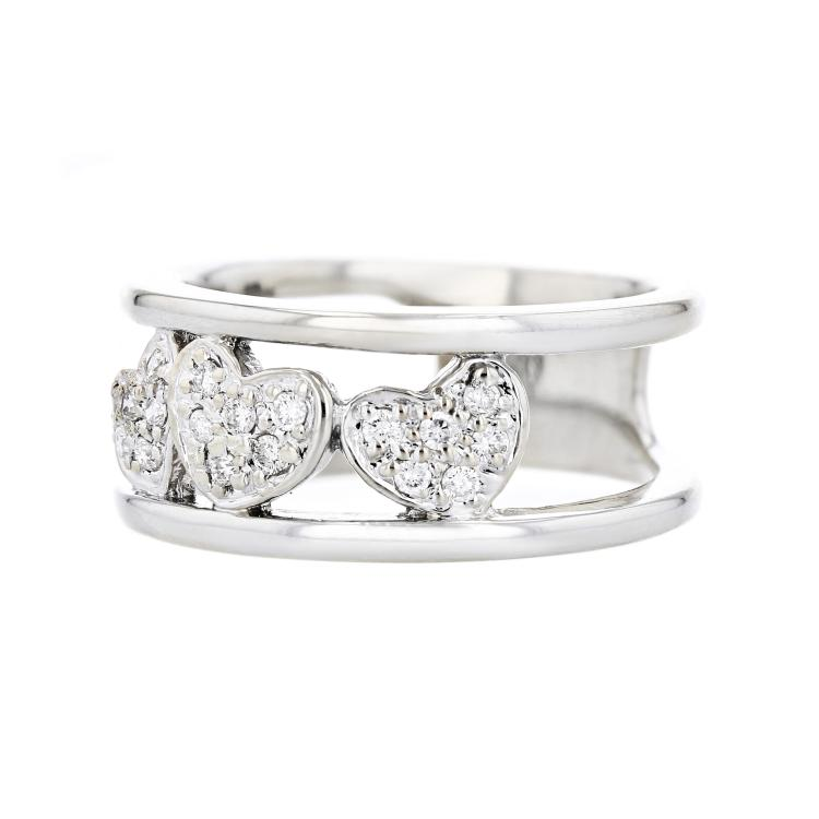 Charming Modern Ladies 14K White Gold Heart-Shaped Design Diamond Ring - New