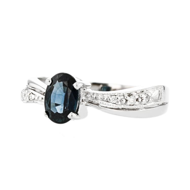 Fancy Modern 14K White Gold Diamond Sapphire Lady's Ring - Brand new