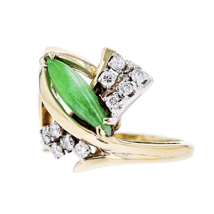 Exquisite Modern Ladies 14K Yellow Gold Diamond & Jadeite Ring - Brand New