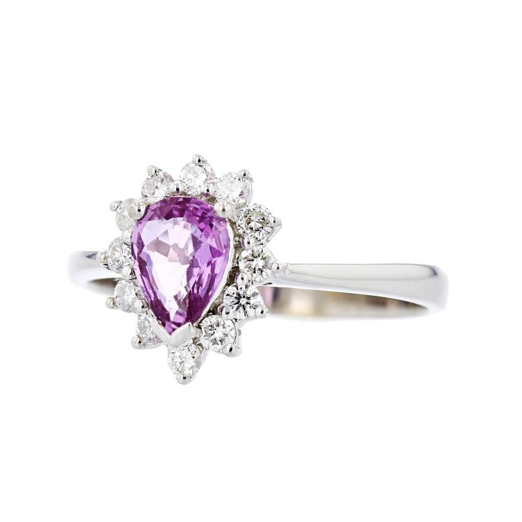 Charming Modern 18K White Gold Diamond & Pink Sapphire Ladies Ring - Brand New