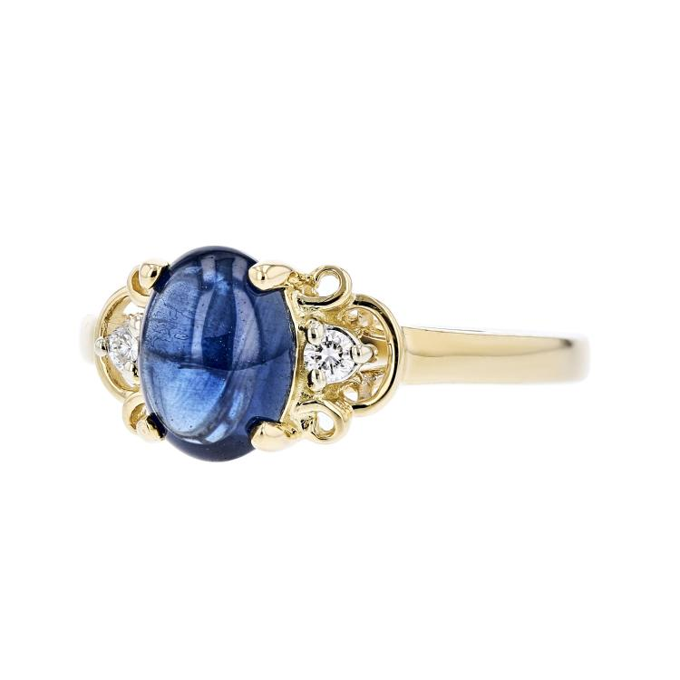Charming Modern 14K Yellow Gold Diamond & Blue Sapphire Ladies Ring - Brand New