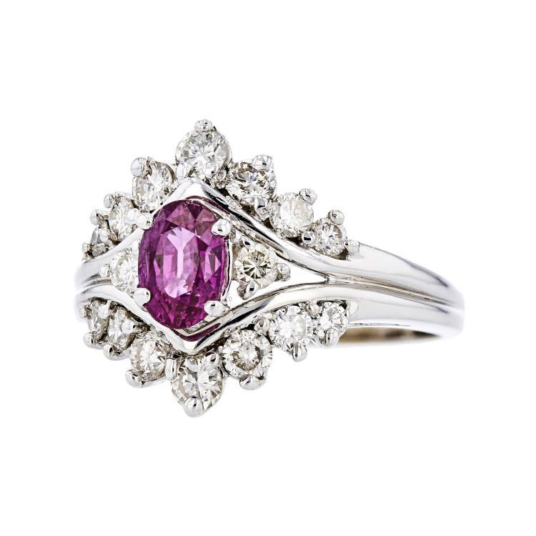 Fancy Modern Ladies 14K White Gold Diamond & Pink Sapphire Ring - 1.42CTW - New