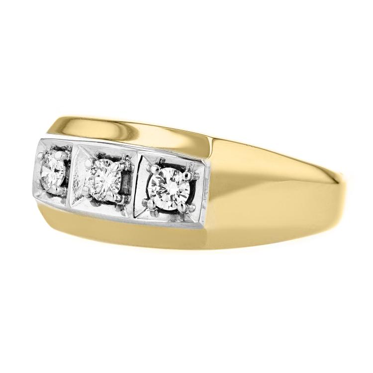 Elegant Modern 14K Yellow & White Gold Mens/Womens/Unisex Diamond Ring - New