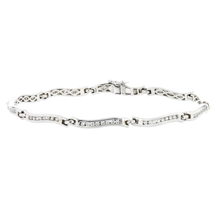 Exquisite Modern 14K White Gold Women's Diamond Bracelet - Brand New