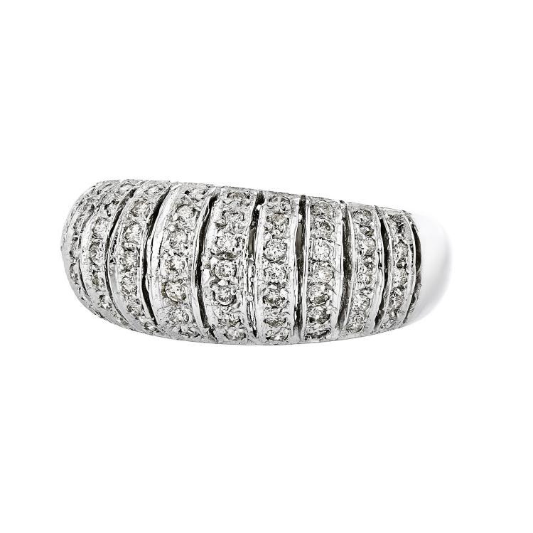 Elegant Modern 14K White Gold Women's Sparkling Diamond Ring - Brand New