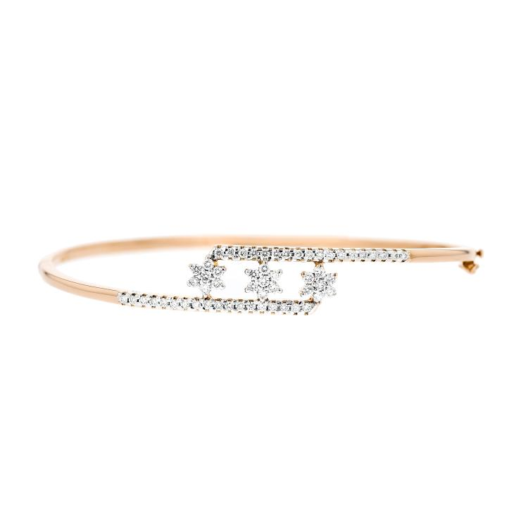 Charming Modern 14K Rose Gold Women's Bangle Diamond Bracelet - Brand New