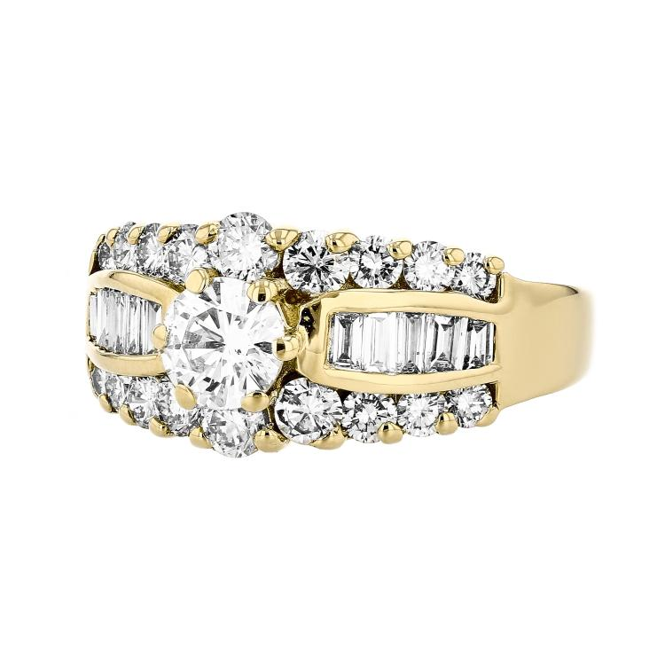Charming 14K Yellow Gold Women's Beautiful Diamond Ring - 1.49 CTW - Brand New