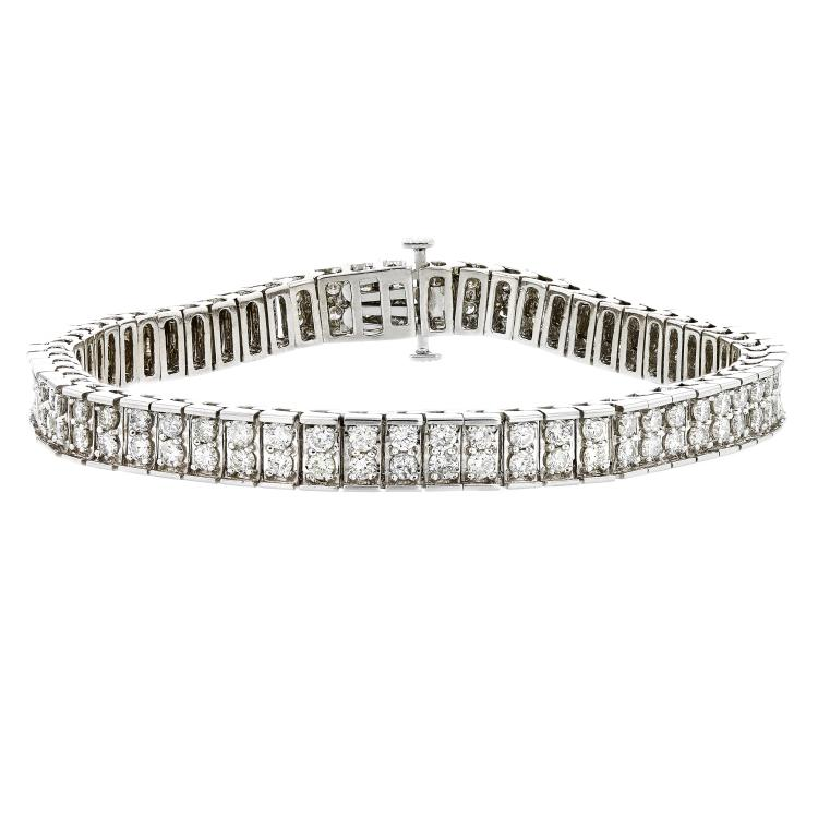 Gorgeous 14K White Gold Sparkling Diamond Women's Bracelet 4.61CTW - Brand New
