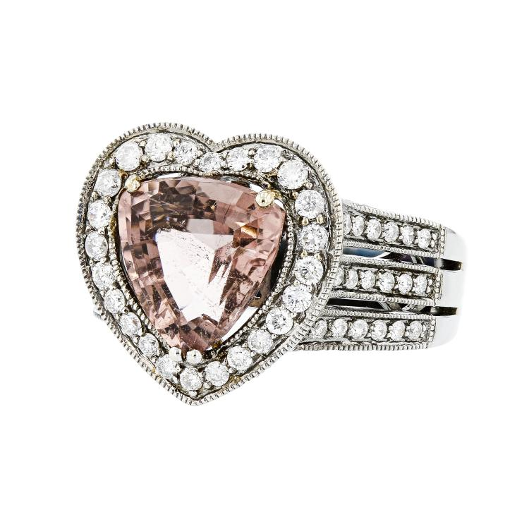 Modern 18K White Gold Heart-Shaped Tourmaline & Diamond Women's Ring - Brand New