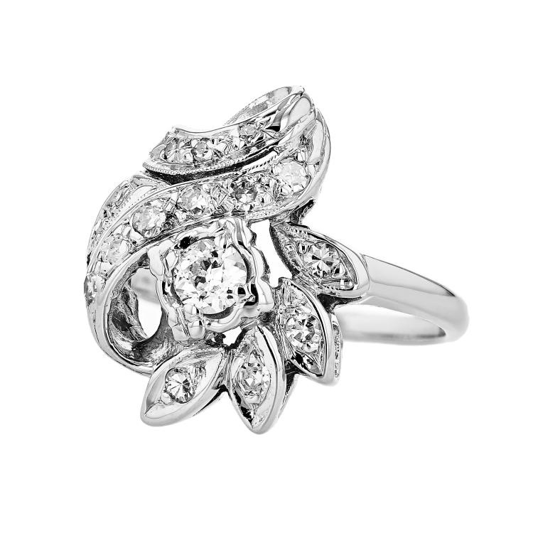 Fancy Modern 14K White Gold Women's Sparkling Diamond Ring - Brand New