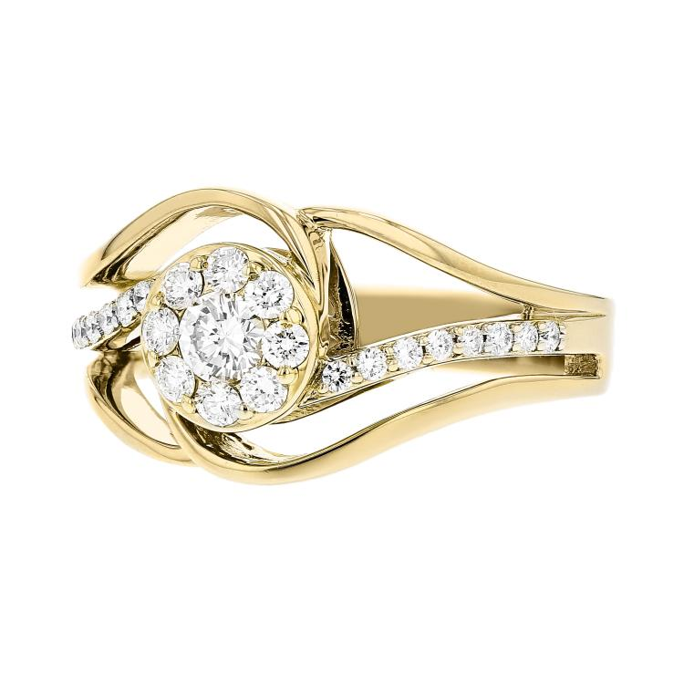 Stylish & Unique Modern 14K Yellow Gold Women's Modern Diamond Ring - Brand New