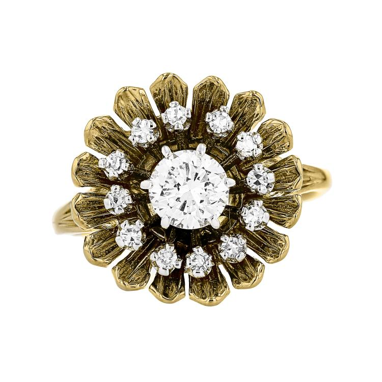 Unique Modern 14K White & Yellow Gold Flower-Shaped Women's Diamond Ring - New