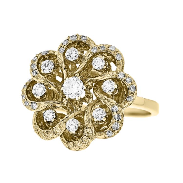 Exquisite Modern 14K White & Yellow Gold Floral Design Ladies Diamond Ring New