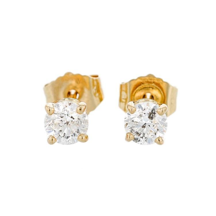 Elegant Modern 14K Yellow Gold Diamond Stud Earrings - Brand New