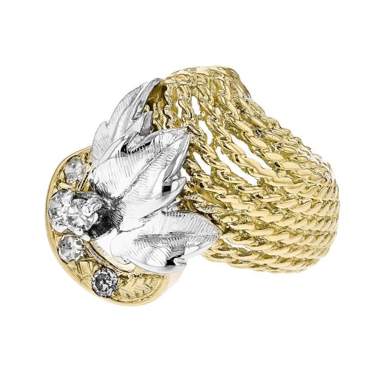Fancy 14K Two Tone Yellow & White Gold Women's Unique Diamond Ring - Brand New