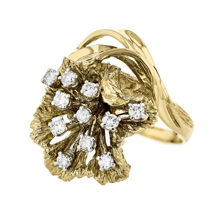 Fancy Flower-Shaped 14K Two Tone Yellow & White Gold Women's Diamond Ring - New