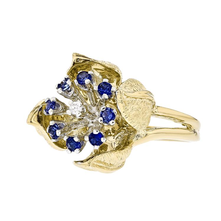 Charming Flower-Shaped 18K White & Yellow Gold Women's Diamond & Sapphire Ring - Brand New