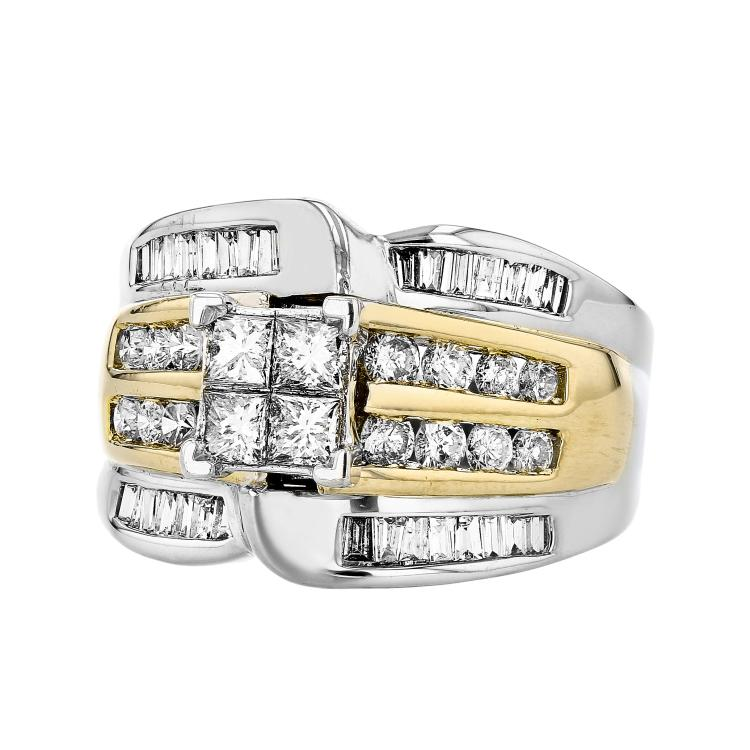Modern 14K Two-Tone White & Yellow Gold Women's Diamond Ring 1.49CTW - Brand New