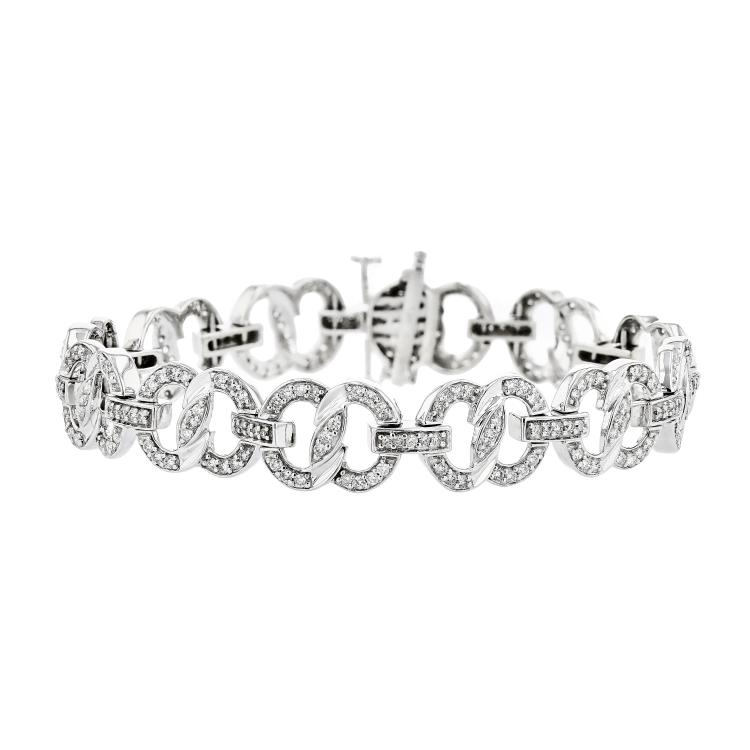 Charming Modern 14K White Gold Diamond 2.10CTW Women's Bracelet - Brand New