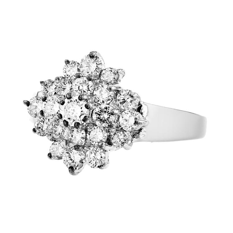 Stylish Modern 14K White Gold Women's Elegant Diamond Ring - Brand New