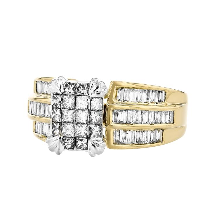 Exquisite Modern 14K White & Yellow Gold Women's Diamond Ring - 1.66CTW - Brand New