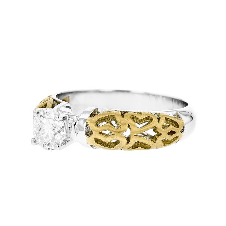 Charming 18K White & Yellow Gold Women's Engagement Diamond Ring - Brand New