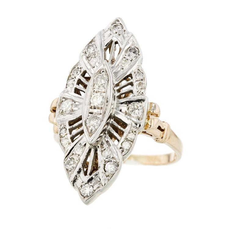 Exquisite Modern 14K White & Yellow Women's Diamond Ring - Brand New