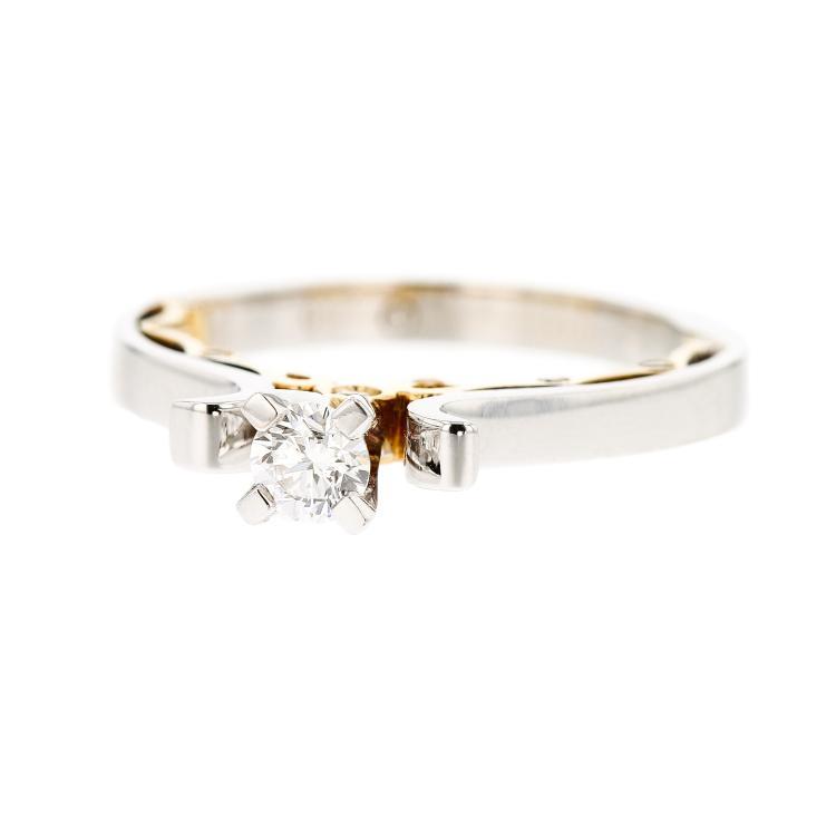 Fancy Elegant 18K White & Yellow Gold Women's Engagement Diamond Ring - New