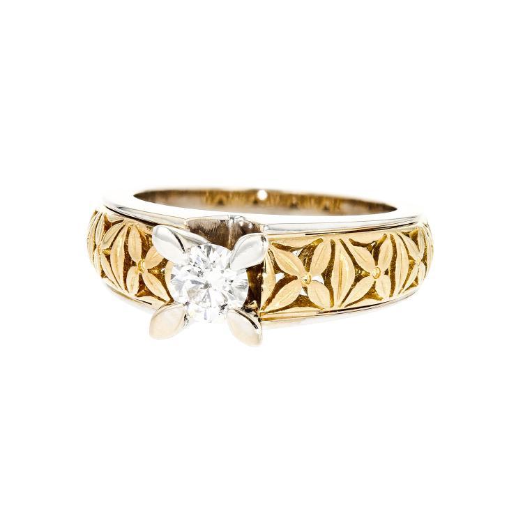 Fancy Modern 18K White & Yellow Gold Women's Engagement Diamond Ring - Brand New