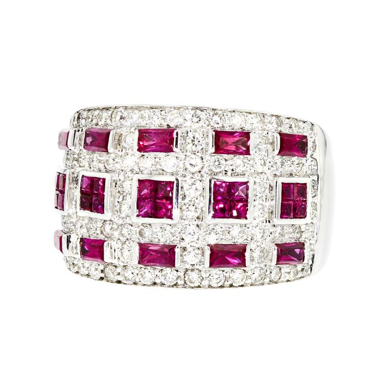 Stylish Modern 18K White Gold Women's Diamond & Ruby Ring - Brand New