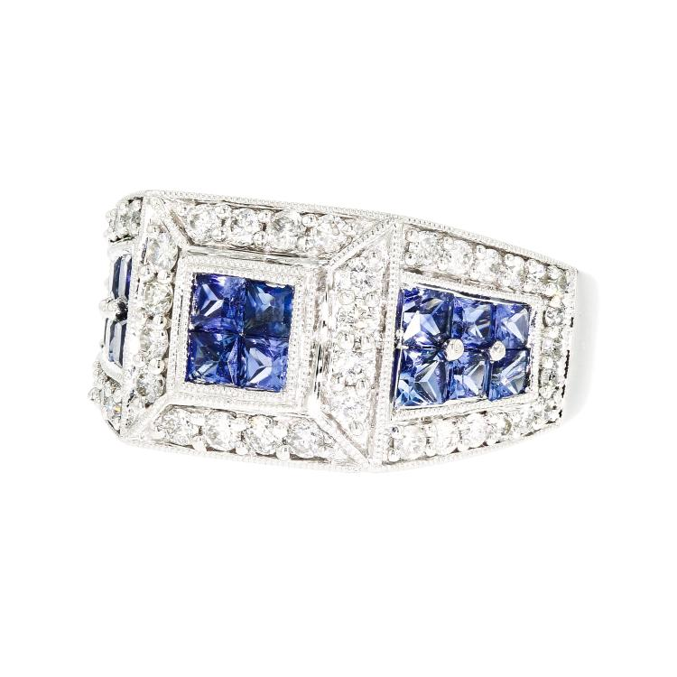 Gorgeous Modern 18K White Gold Women's Diamond & Sapphire Ring - Brand New