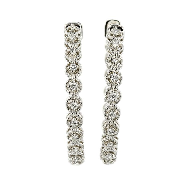 Charming 14K White Gold Ladies Sparkling Diamond Earrings - Brand New