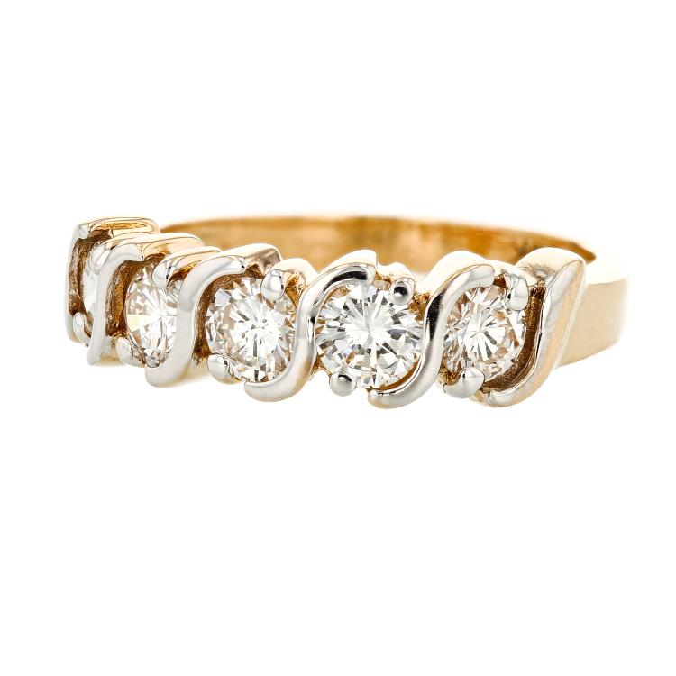 Modern 14K White & Yellow Gold Elegant Ladies Diamond Ring 1.20CTW - Brand New