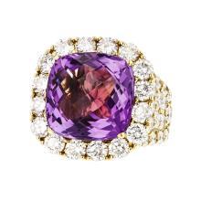 Gorgeous 18K Yellow Gold Women's Diamond & Amethyst Ring - Brand New