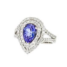 Beautiful & Unique 18K White Gold Women's Diamond & Tanzanite Ring - Brand New