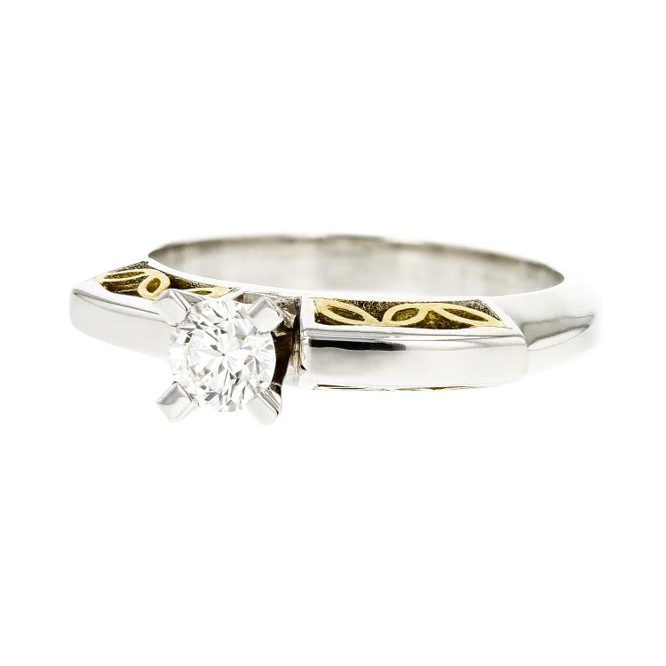 Stylish Elegant 18K White & Yellow Engagement Women's Diamond Ring - Brand New