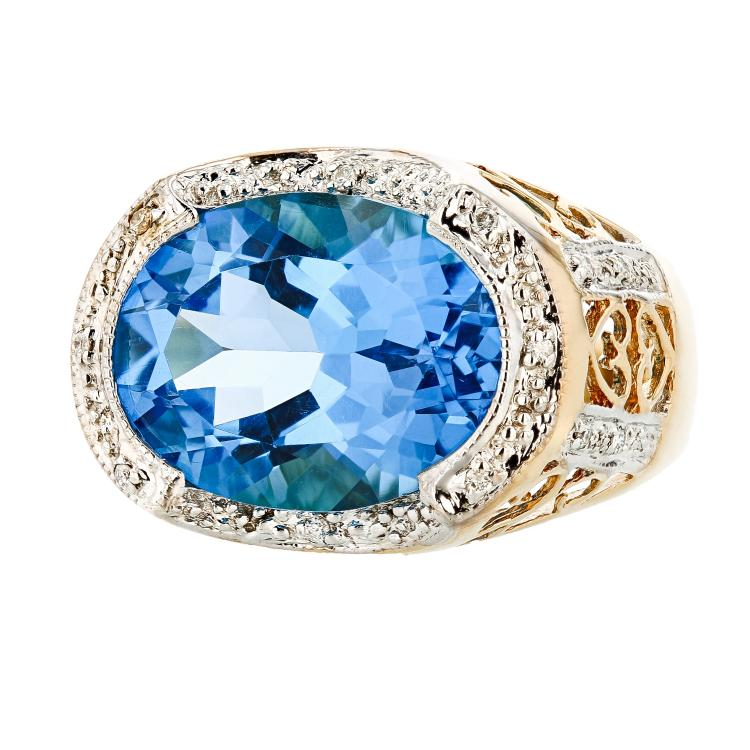 Fancy Modern 14K Yellow Gold Diamond & Topaz Ring - Brand New