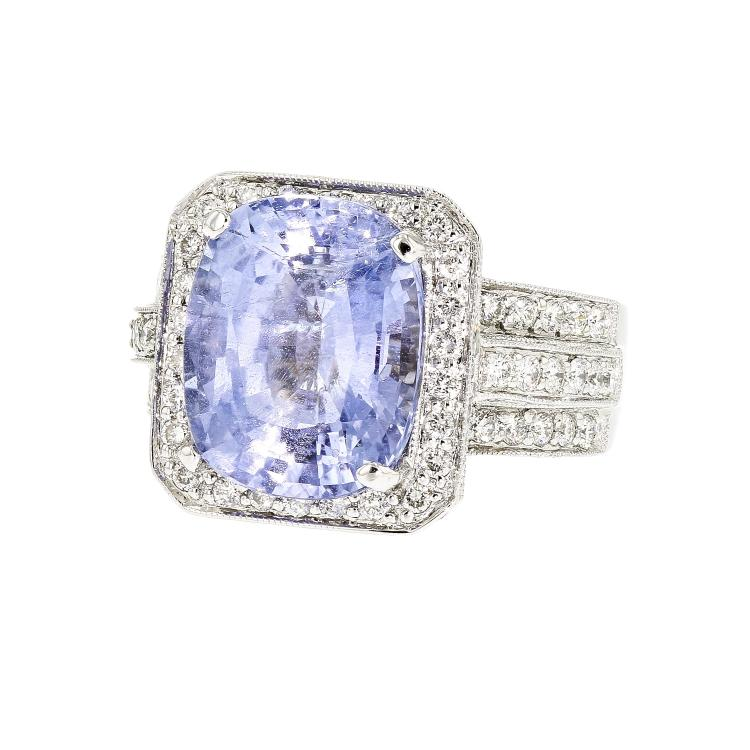 Stunning 18K White Gold Women's Diamond & Sapphire - 1.59CTW Ring - New
