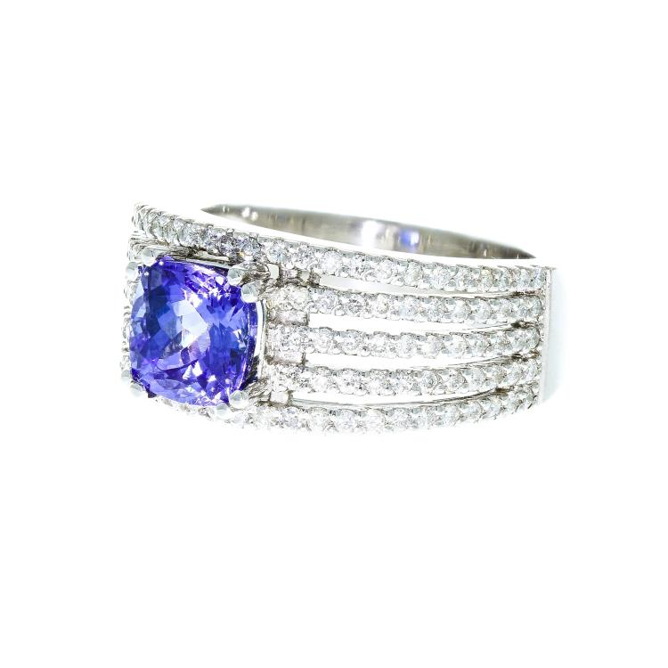 Exquisite 14K White Gold Women's Diamond/Tanzanite (1.32CTW/2.51CTW) Ring - New