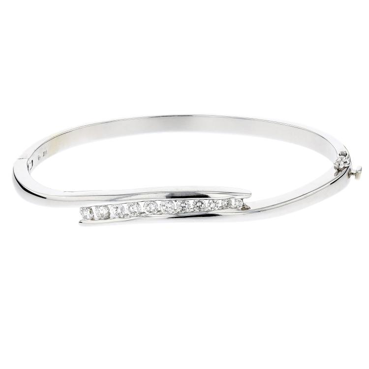 Charming Modern 14__ White Gold Women's Diamond Bangle Bracelet - Brand New
