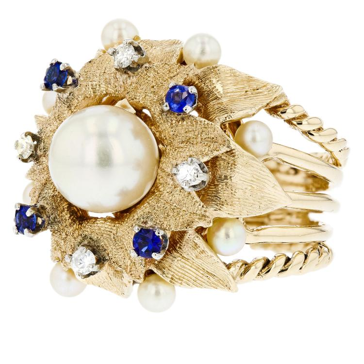 Gorgeous Modern 18K Yellow Gold Diamond Pearl Sapphire Ladies Statement Ring New