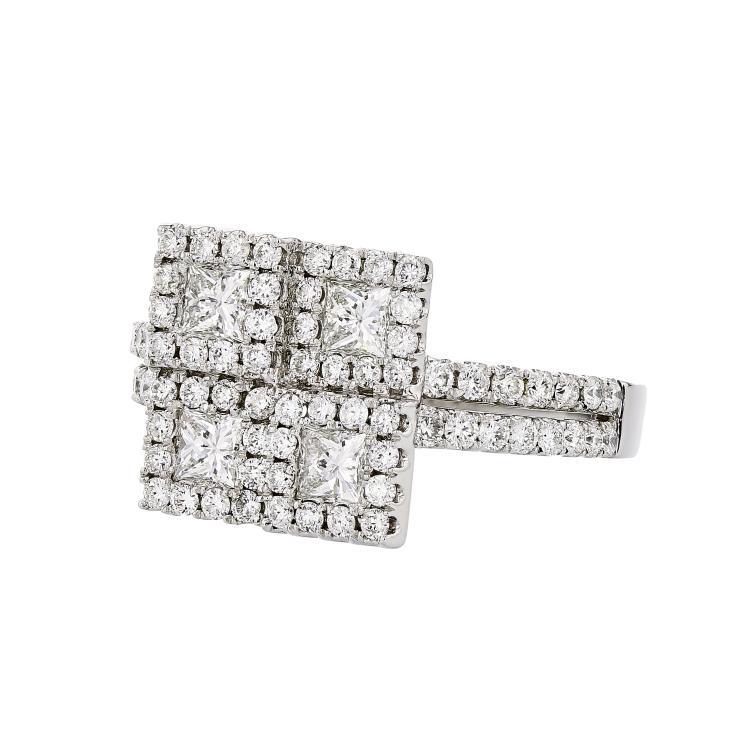 Stunning Modern 14K White Gold Princess Cut Diamond Ladies Ring - 1.65CTW - New