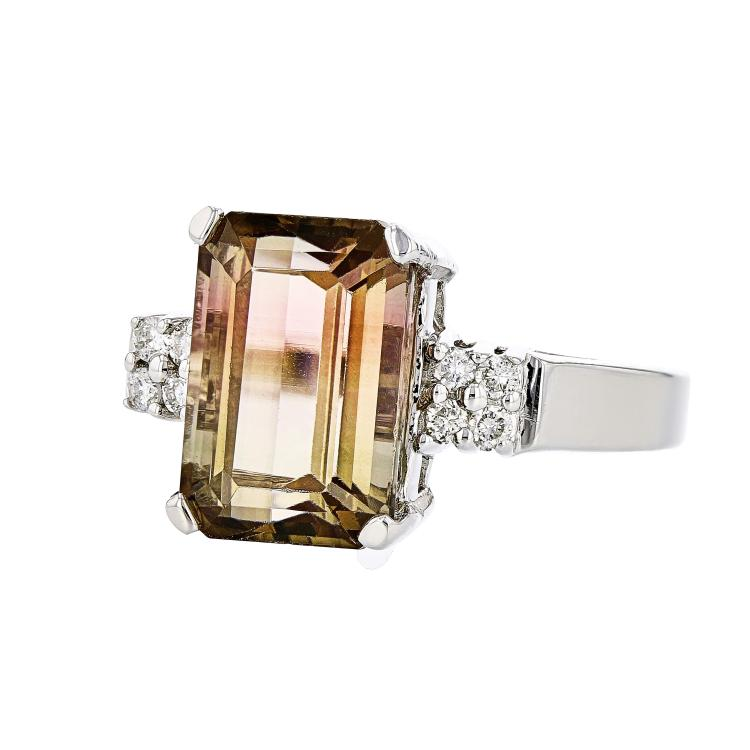 Elegant 14K White Gold Sparkling Diamond & Gorgeous Tourmaline Women's Ring - Brand New