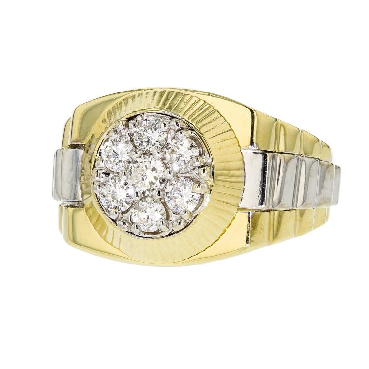 Stylish Modern 14K White & Yellow Gold Men's Diamond Ring - Brand New