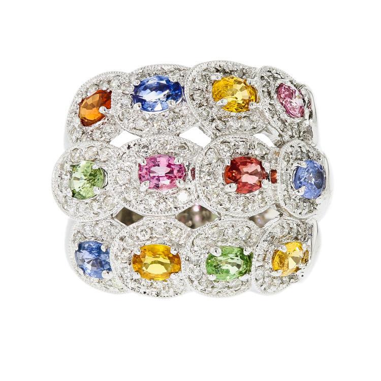 Fancy Modern 18K White Gold Women's Diamond & Natural Stones Ring - Brand New